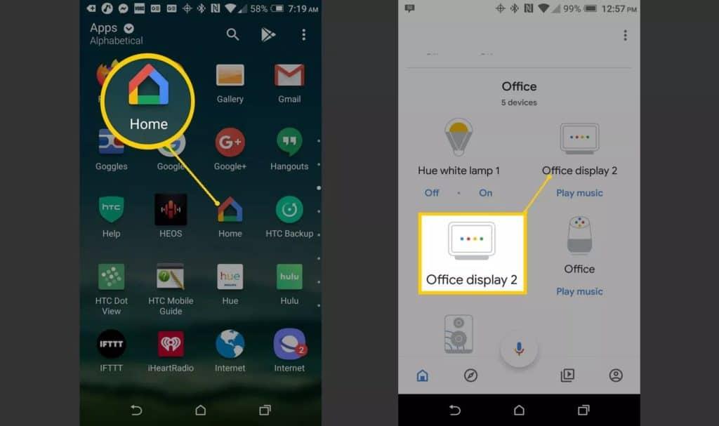 Abre la aplicación de Google Home y toca tu Hub o pantalla compatible.